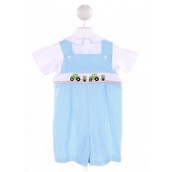 COLLECTION BEBE  AQUA  GINGHAM SMOCKED 2-PIECE OUTFIT