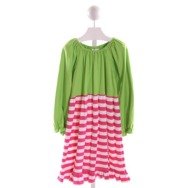 ZUCCINI  MULTI-COLOR  STRIPED  KNIT DRESS WITH RUFFLE