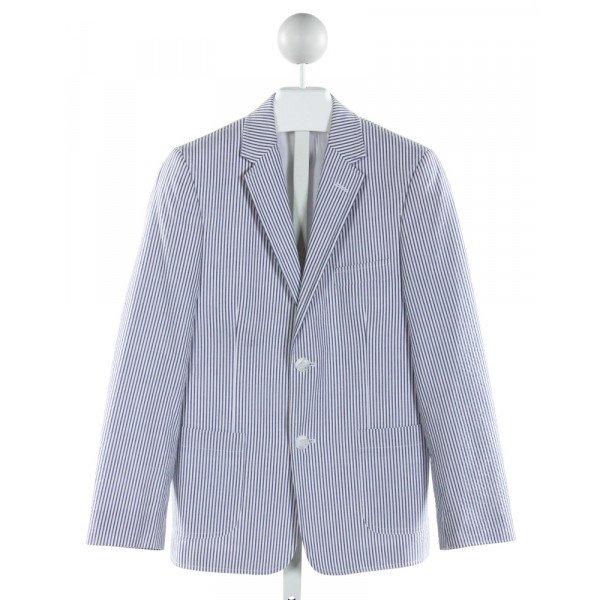 IKE BEHAR  BLUE SEERSUCKER STRIPED  BLAZER