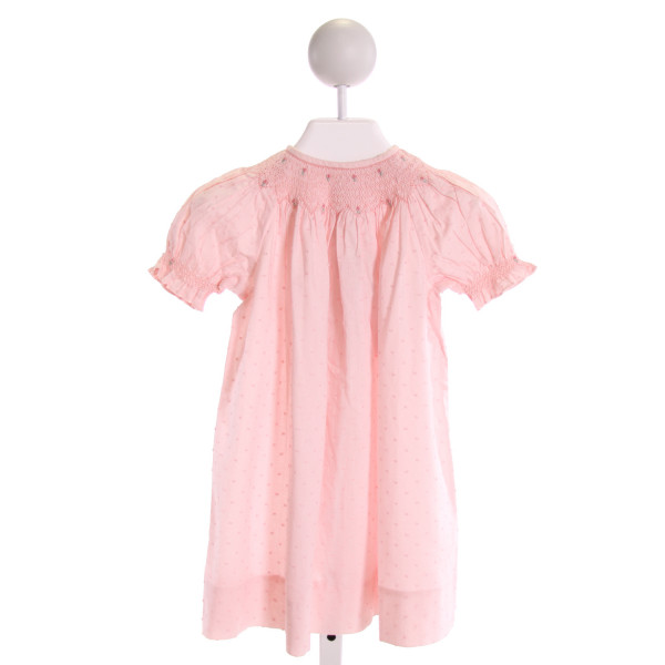 ORIENT EXPRESSED  PINK  SWISS DOT SMOCKED DRESS WITH RUFFLE
