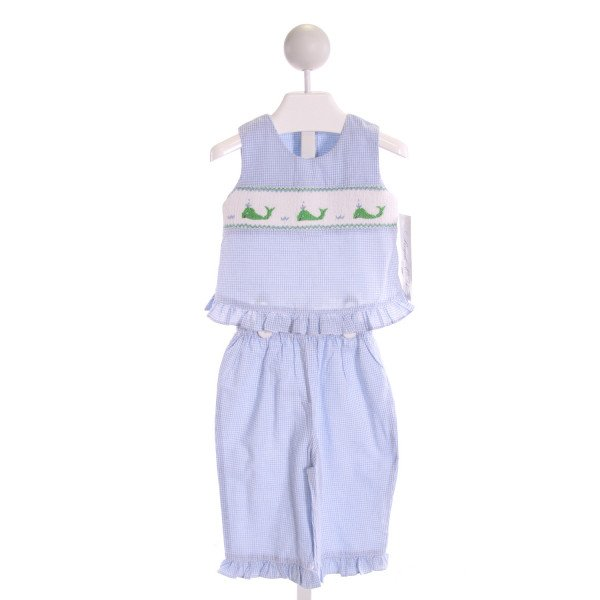 ROYAL CHILD  LT BLUE  GINGHAM SMOCKED 2-PIECE OUTFIT WITH RUFFLE