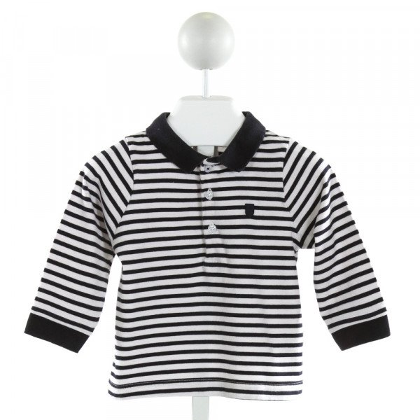 JACADI  OFF-WHITE  STRIPED  KNIT LS SHIRT