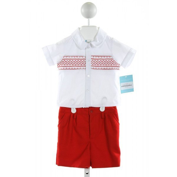 ANAVINI  WHITE   SMOCKED 2-PIECE OUTFIT