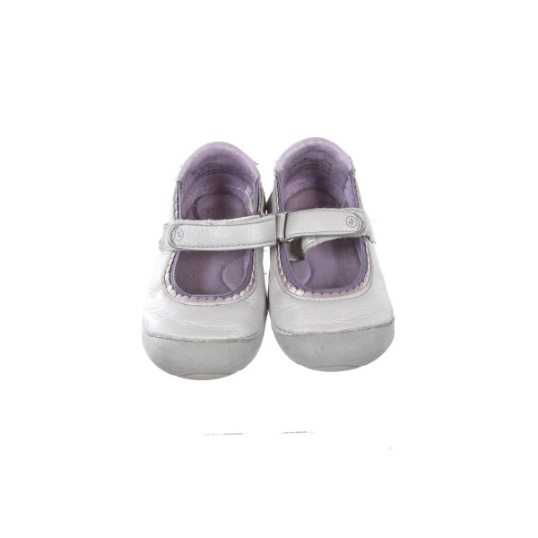 STRIDE RITE SILVER SHOES WITH PURPLE TRIM TODDLER SIZE 5.5M *LIGHT WEAR