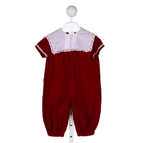 DAISIES & DOODLEBUGS  RED CORDUROY   ROMPER WITH LACE TRIM