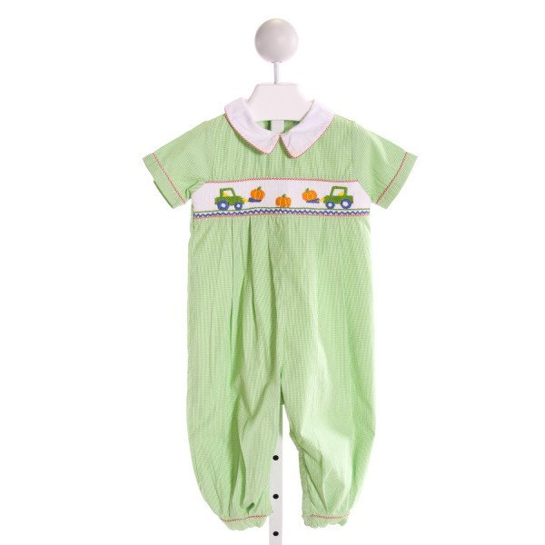 THE SMOCKING BUG  GREEN  GINGHAM SMOCKED LONGALL/ROMPER