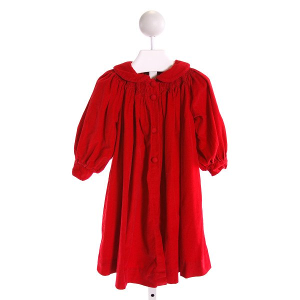 ROYAL KIDZ  RED CORDUROY  SMOCKED DRESSY OUTERWEAR WITH RUFFLE