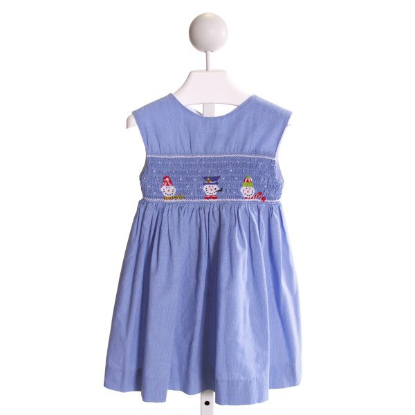 ORIENT EXPRESSED  BLUE  WINDOWPANE SMOCKED DRESS