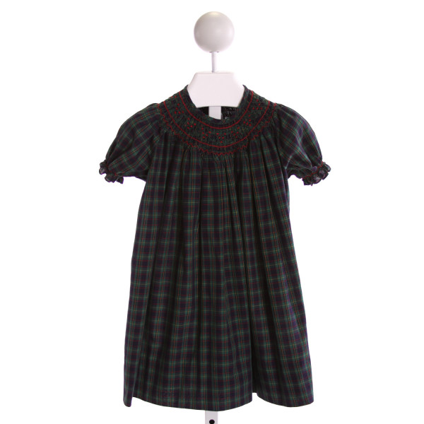 ORIENT EXPRESSED  MULTI-COLOR  PLAID SMOCKED DRESS WITH RUFFLE