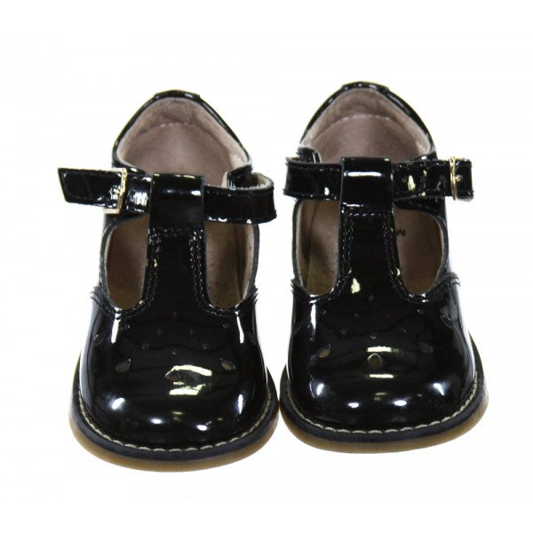 FOOTMATES BLACK SHINY LEATHER SHOES *SIZE TODDLER 5, VGU - SOME SPOTS