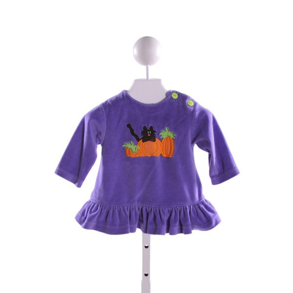 PEACHES 'N CREAM  PURPLE   EMBROIDERED CLOTH LS SHIRT WITH RUFFLE