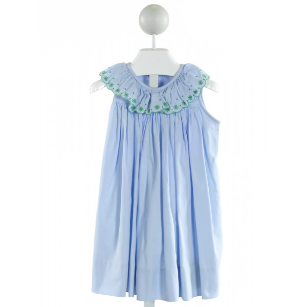 THE PROPER PEONY  LT BLUE   EMBROIDERED DRESS WITH RUFFLE