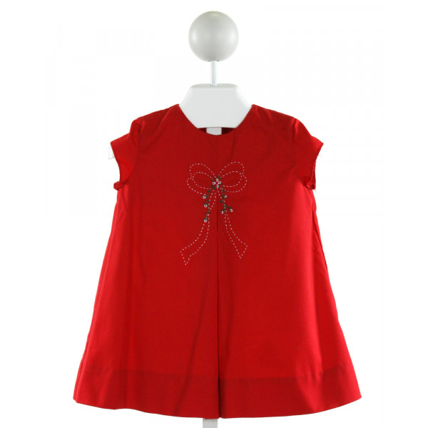 THE PROPER PEONY  RED   EMBROIDERED DRESS