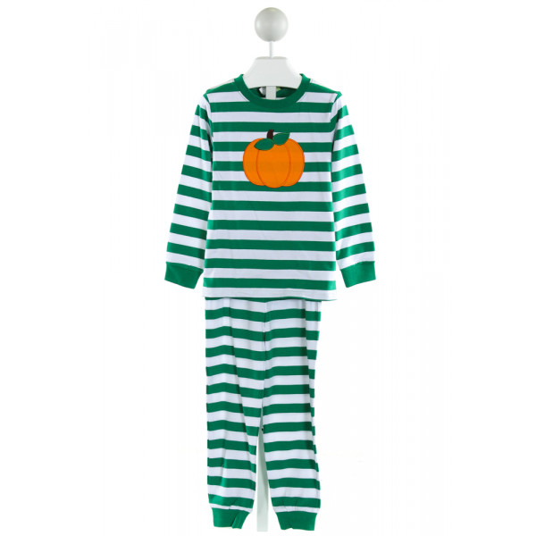 CLASSIC WHIMSY  GREEN  STRIPED EMBROIDERED LOUNGEWEAR