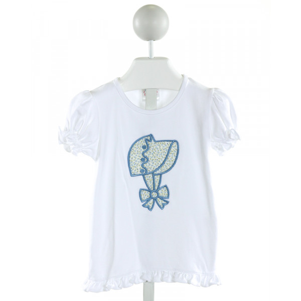 MARY & GRACE  WHITE   EMBROIDERED KNIT SS SHIRT WITH RUFFLE