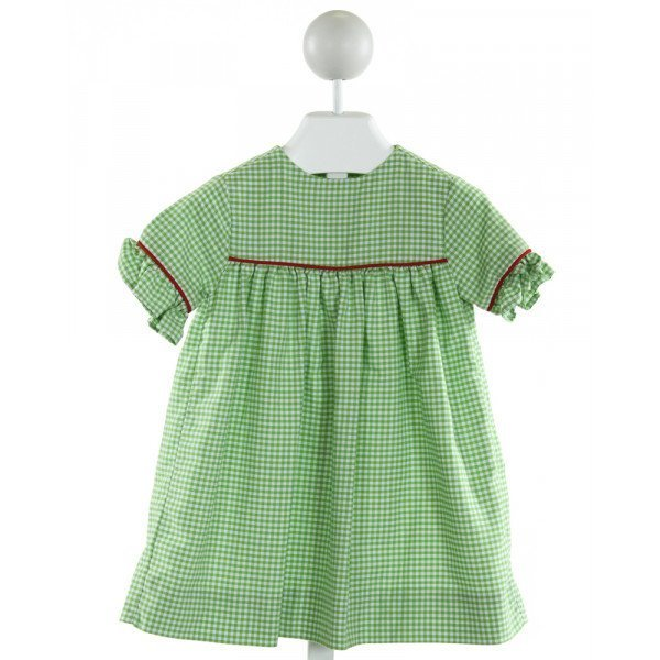 KELLY'S KIDS  LT GREEN  GINGHAM  DRESS WITH RUFFLE