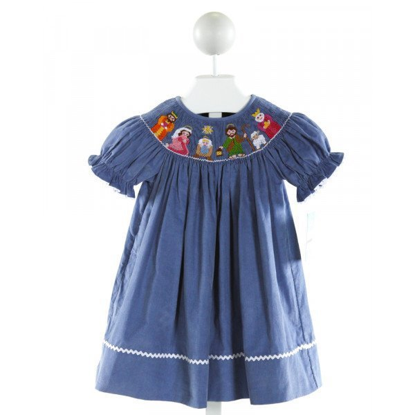 ANAVINI  BLUE CORDUROY  SMOCKED DRESS WITH RIC RAC