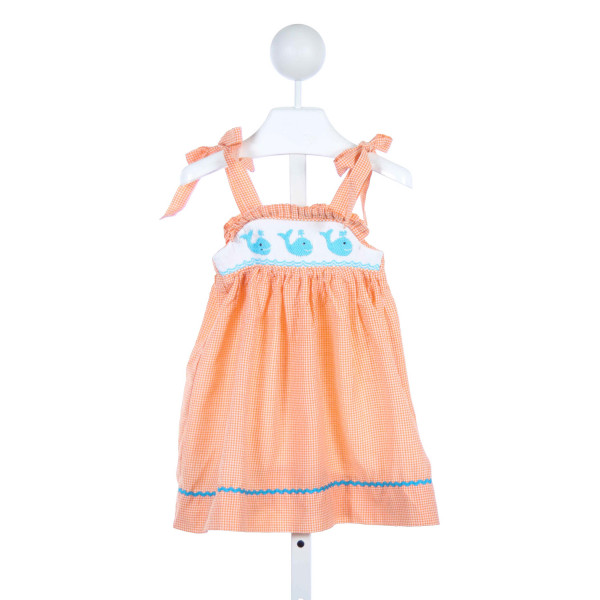 CHERISHED BY DESIGN ORANGE AND WHITE CHECKED DRESS WITH RUFFLES, WHALE SMOCKING AND BLUE TRIM