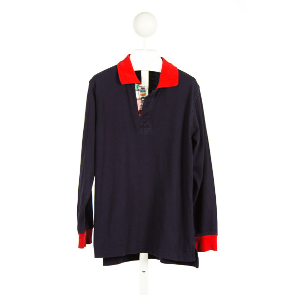 KELLYS KIDS NAVY KNIT POLO WITH RED AND MADRAS TRIM *SIZE 7-8