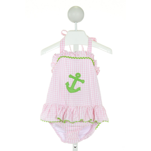 LITTLE ENGLISH  PINK SEERSUCKER GINGHAM EMBROIDERED 1-PIECE SWIMSUIT WITH RIC RAC