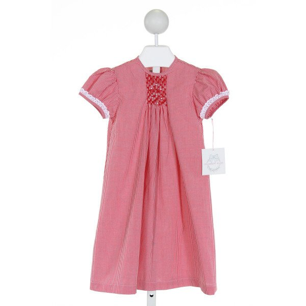 CHARMING MARY  RED  GINGHAM SMOCKED DRESS WITH EYELET TRIM