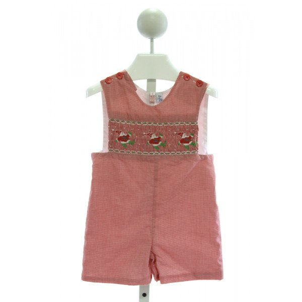 ORIENT EXPRESSED  RED  MICROCHECK SMOCKED JOHN JOHN/ SHORTALL
