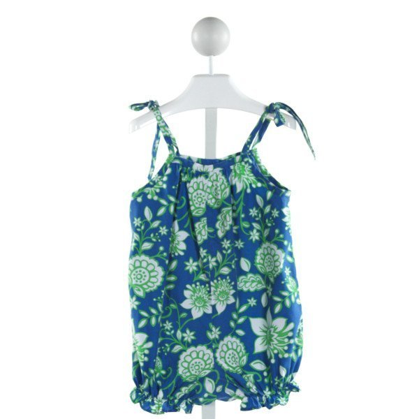 KELLY'S KIDS  BLUE  FLORAL  ROMPER WITH RUFFLE