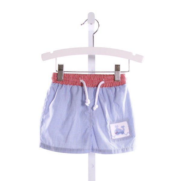 SILLY GOOSE  MULTI-COLOR  GINGHAM SMOCKED SWIM TRUNKS