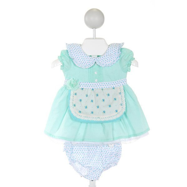 HARRY & VIOLET  AQUA  POLKA DOT PRINTED DESIGN 2-PIECE OUTFIT WITH RUFFLE