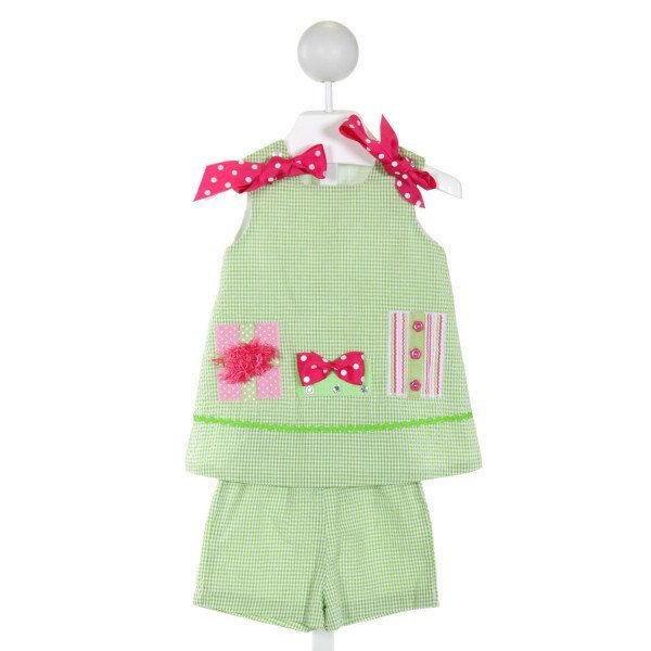 BAILEY BOYS  LT GREEN SEERSUCKER GINGHAM EMBROIDERED 2-PIECE OUTFIT WITH RIC RAC