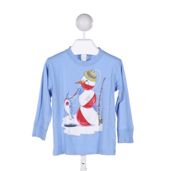 WES AND WILLY  BLUE   PRINTED DESIGN KNIT LS SHIRT
