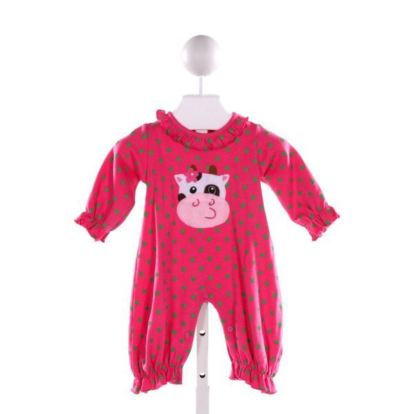 LUIGI  HOT PINK COTTON POLKA DOT APPLIQUED LAYETTE WITH RUFFLE