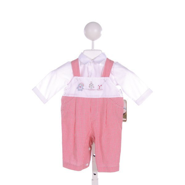 WILLBETH  RED  GINGHAM EMBROIDERED JOHN JOHN/ SHORTALL