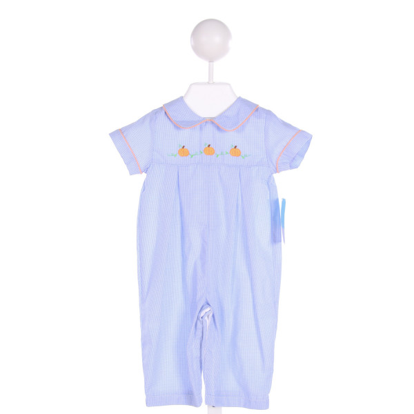 ANAVINI  BLUE  GINGHAM EMBROIDERED LONGALL/ROMPER
