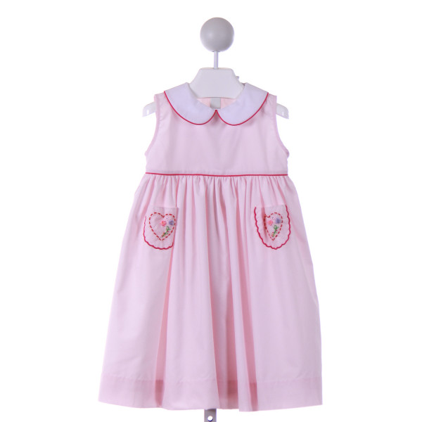 THE PROPER PEONY  LT PINK   EMBROIDERED CASUAL DRESS