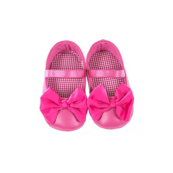 BABY DEER PINK SOFT SHOES WITH BOW INFANT SIZE 3