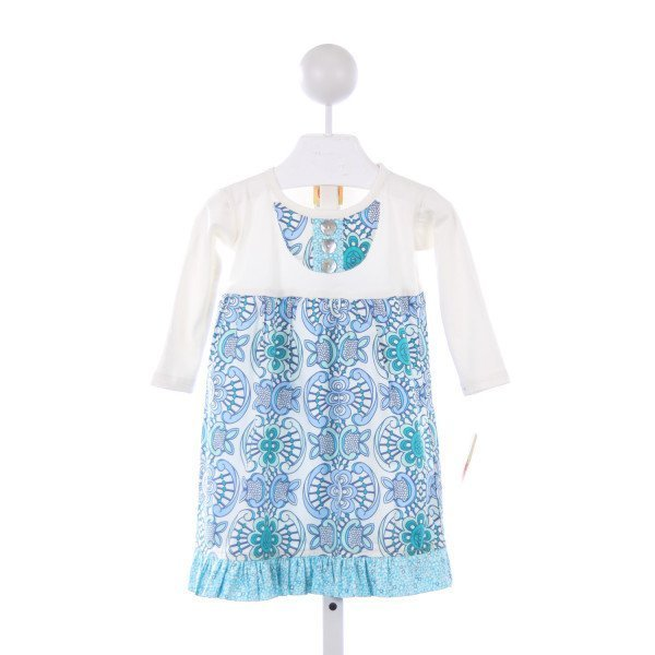 SOUTHERN SUNSHINE KIDS BLUE AND IVORY FLORAL DRESS