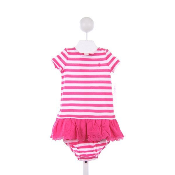 POLO BY RALPH LAUREN PINK STRIPE KNIT DRESS WITH LACE HEM AND BLOOMERS