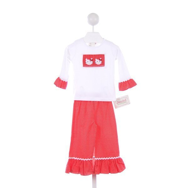 SMOCKED AUCTIONS 2 PIECE  RED POLKA-DOT SMOCKED HELLO KITTY PANT SET