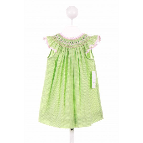 BE MINE  GREEN  GINGHAM SMOCKED CASUAL DRESS WITH RUFFLE
