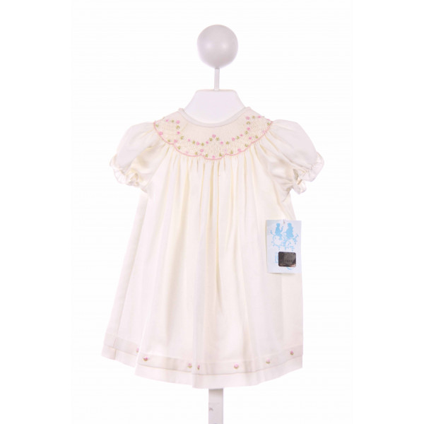LULI & ME  OFF-WHITE PIQUE FLORAL SMOCKED CASUAL DRESS WITH BUBBLE HEM