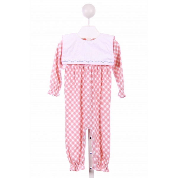 THREAD BLANKS  PINK  GINGHAM  LONGALL/ROMPER WITH RUFFLE