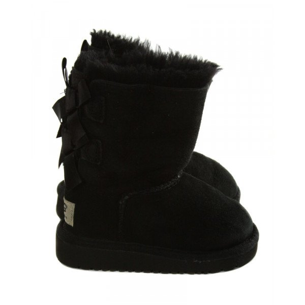 UGG BLACK BOOTS WITH BOWS *SIZE TODDLER 6, VGU - LIGHT WEAR AND A FEW PINPOINT STAINS