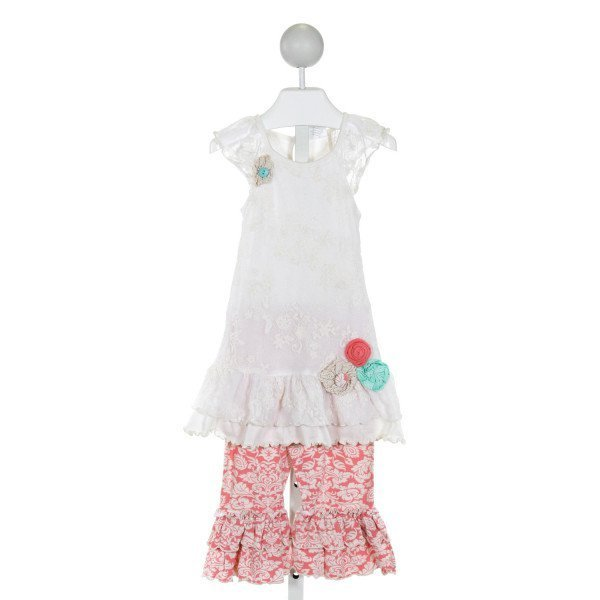 PEACHES 'N CREAM  WHITE  FLORAL EMBROIDERED 2-PIECE OUTFIT WITH RUFFLE