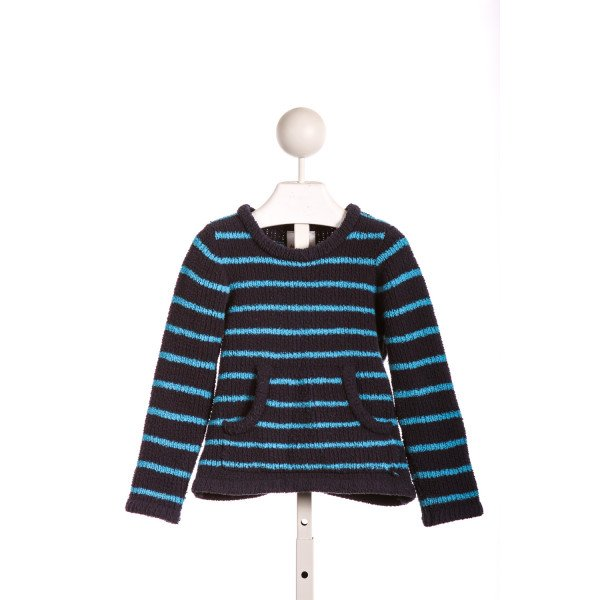 HANNA ANDERSSON NAVY AND TURQUOISE CHENILLE SWEATER *SLIGHT IMPERFECTION (LIGHT WASH WEAR)