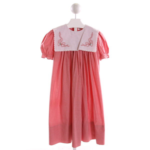 AMANDA REMEMBERED  RED  GINGHAM EMBROIDERED DRESS WITH RUFFLE