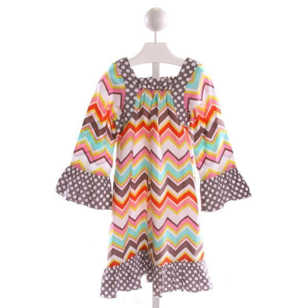 LOLLY WOLLY DOODLE  MULTI-COLOR   PRINTED DESIGN DRESS WITH RUFFLE