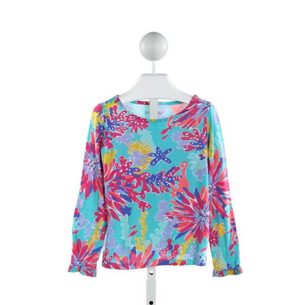 LILLY PULITZER  BLUE  FLORAL PRINTED DESIGN KNIT LS SHIRT WITH RUFFLE