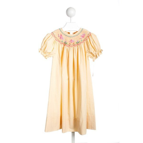ROSALINA YELLOW SEERSUCKER FISH SMOCKED DRESS