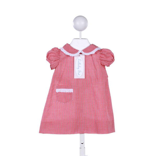 LULLABY SET RED GINGHAM DRESS WITH WHITE EYELET TRIM